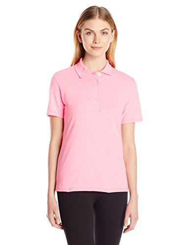 Hanes Women's X-Temp Performance Polo, Neon Pink Heather, XXX-Large (Heather Pink)