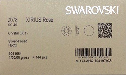 HOTFIX 40ss Crystal CLEAR 144 SWAROVSKI #2078 XIRIUS Rose Flatback Rhinestones Wholesale FULL Pack