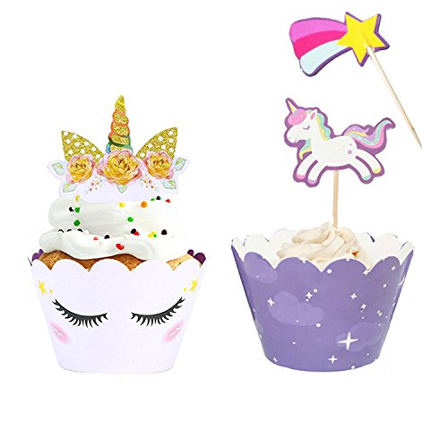 Unicorn Cupcake Toppers + Wrappers with Sticks | Unicorn Party Supplies, Unicorn Horn Cake Birthday Decoration + Baby Shower - Set of 24 -