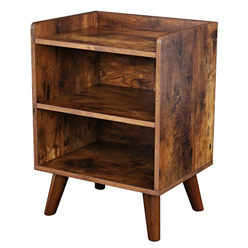 HOOBRO End Table, 3-Tier Nightstand with Open Compartment, Wooden Accent Side Table for Small Spaces, Stable and Sturdy Construction, Rustic Brown