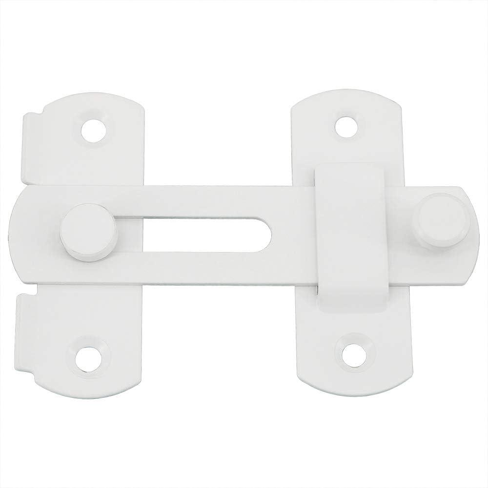 Sayayo EMS9001 - Cerradura de puerta con cierre deslizante para puerta, acero inoxidable, acabado cepillado, acero inoxidable, blanco