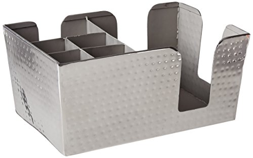American Metalcraft HMBAR8 Hammered Stainless Steel Bar Caddy with 6 Compartments, Silver