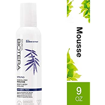 Biotera Alcohol-Free Styling Mousse, with Bamboo Extract, Paraben-Free, 9-Ounce