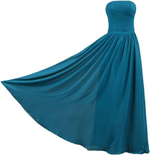 Vintage Gown ANTS Teal Strapless Blue Long Dresses Chiffon Bridesmaid Women's 5AqRWqxw16