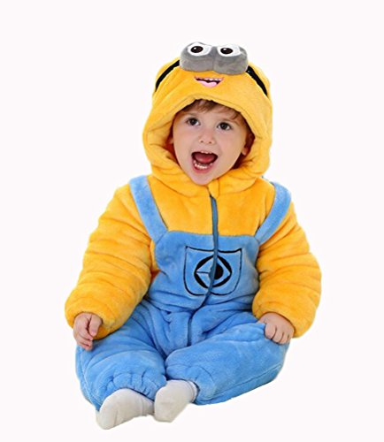Aokaixin Infant Baby Toddler Hoodie Rompers Costumes Baby Suit (Height:31.5-34.5'', (Baby Minion Costumes)