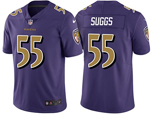 Suggs 55# Ravens Mens Baltimore Purple Color Rush Legend Limited Hot American Football Jersey XX-Large