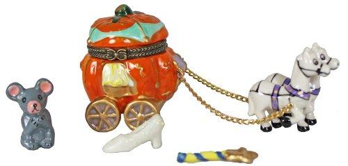 Storybook Cinderella Horse Drawn Pumpkin Carriage Hinged Trinket Box