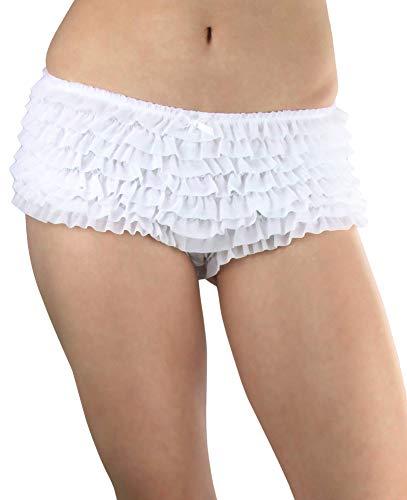 ToBeInStyle Women's Soft Chiffon Ruffle Trim Boyshort Panties - White