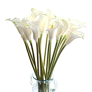 "cn-Knight Artificial Flower 10pcs 26"" Long Stem Calla Lily Faux PU Flower Fake Arum Lily for Wedding Bridal Bouquet Bridesmaid Home Décor Office Baby Shower Centerpiece Reception(White)"