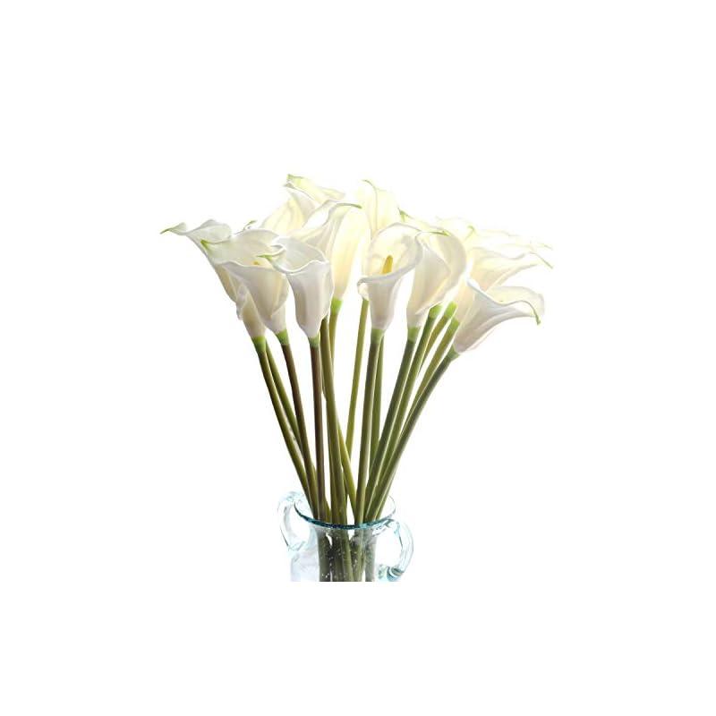 silk flower arrangements cn-knight artificial flower 10pcs 26'' long stem calla lily faux pu flower fake arum lily for wedding bridal bouquet bridesmaid home décor office baby shower centerpiece reception(white)