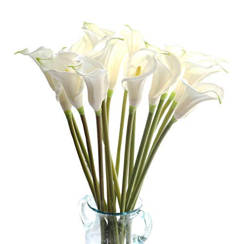 Calla Large Lily - cn-Knight Artificial Flower 10pcs 26'' Long Stem Calla Lily Faux PU Flower Fake Arum Lily for Wedding Bridal Bouquet Bridesmaid Home Décor Office Baby Shower Centerpiece Reception(White)