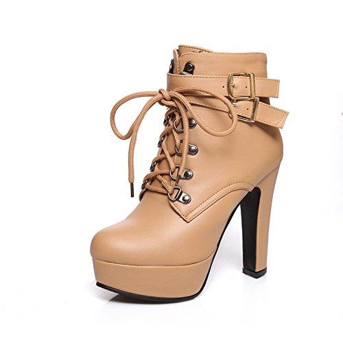 AllhqFashion Damen Niedrig-Spitze Reißverschluss PU Leder Rund Zehe Stiefel, Aprikosen Farbe, 42