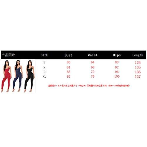 Minzhi Donna Bodycon Pure Color Tuta Body Legging Pagliaccetti Cinturino Yoga Sport senza maniche Pagliaccetti