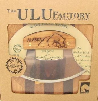 Ulu Factory Alaska Ulu Birch Walnut Stripe Wood Chopping Bowl-board Polar bear Design Handle Polar Bear Wood