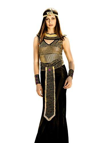 Nefertiti Costume Fancy Dress (Adult Women Cleopatra Nefertiti Nile Queen Costume Cosplay & Role Play Dress Up (Small/Medium, Black, Gold, Purple))