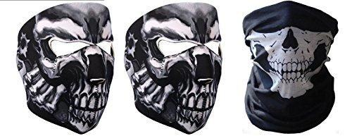 Plus Half Mask (Adeleways Two Pieces 2 In 1 Reversible Universal Protective Neoprene Skull Half Face Mask Windstopper Balaclava for Snowboard Ski Motorcycles Bikes Plus Skull 12 in 1 Bandana Set of 3)
