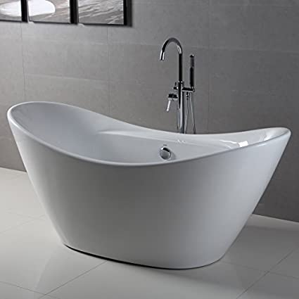 FerdY Bathroom Freestanding Acrylic Soaking Bathtub White Color (67, Oval)