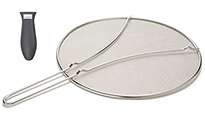 "Cucinare 13"" Splatter Screen Guard with Double Thick Mesh for Covering Pots and Frying Pans while Cooking, Stainless Steel with Finest Woven Mesh and Resting Feet Plus Silicone Holder for Frying Pans"
