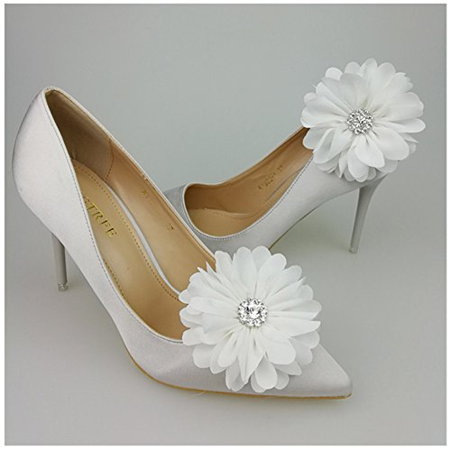 Douqu Romantic Rhinestone Flower Shoe Clips Clutch Grip Hat Shoes Clip Wedding Decoration Pack of 2 (White)