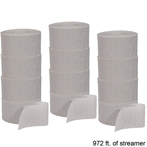 Crepe Paper Party Streamer Decorations 12 - 81 foot Rolls for Party Wedding Shower DIY (Silver)