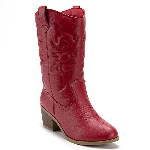 (J'aime Aldo Women's TEX-25 Tall Stitched Western Cowboy Cowgirl Boots, Red, 7.5)