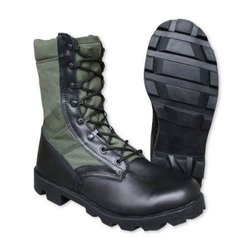 Mil-Tec - Botas para hombre Olive Green Cordura and Black Leather