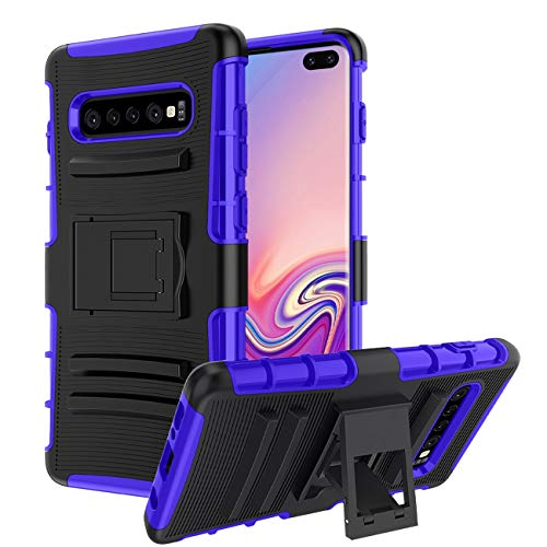 Samsung Galaxy S10 Plus Case,Samsung Galaxy S10+ Case,CaseBing [Heavy Duty][Built-in Kickstand][Dual Layer] Non-Slip Shock Absorption Reinforced Corner Hybrid Protective Case Cover-Blue