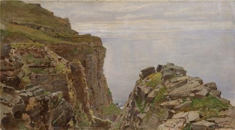 The High Quality Polyster Canvas Of Oil Painting 'William Trost Richards,St. John's Head,Hoy,Orkneys,ca.1892' ,size: 16x29 Inch / 41x73 Cm ,this High Definition Art Decorative Prints On Canvas Is Fit For Gym Decoration And Home Gallery Art And Gifts