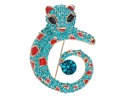 Leopard Cat Pin - Alilang Golden Tone Turquoise Blue Rhinestones Red Enamel Cat Leopard Brooch Pin