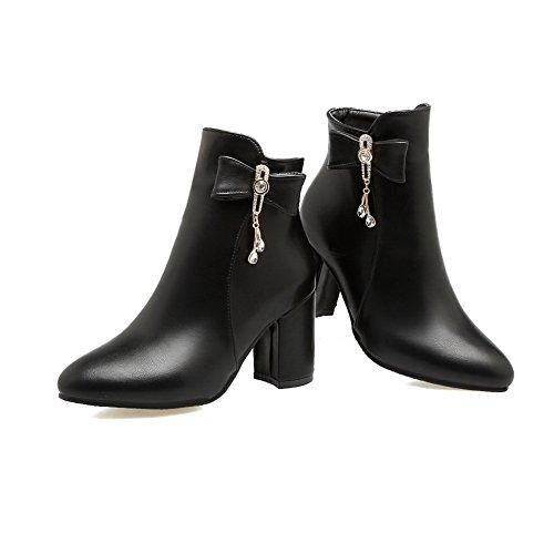 Velvet Chunky Black nbsp;Lining Round SXC02653 nbsp; Womens Heels Boots Toe Leather AdeeSu waO4qStS