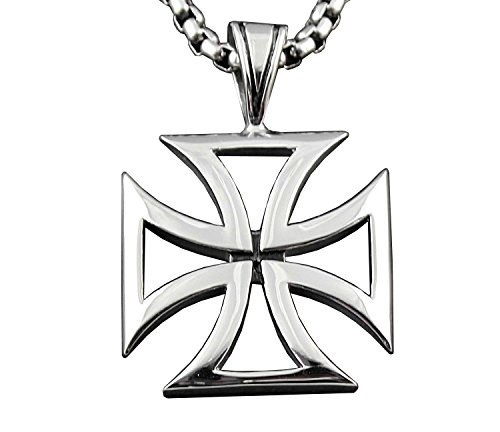 CHOPPER IRON MALTESE CROSS SOLID STAINLESS STEEL MENS CHARM PENDANT NECKLACE PP6