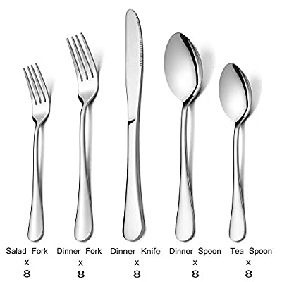 E-far Stainless Steel 10/20/40 Pieces Flatware Sets
