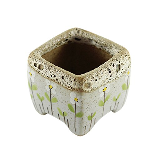 Xigeapg Hand-Painted Flowers Retro Square Flower pots Ceramic pots Simple Ideas Stoneware Green Meat Plants Small Flower pots