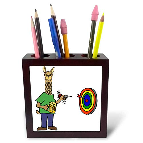 (3dRose All Smiles Art - Sports and Hobbies - Funny Llama Throwing Darts Cartoon - 5 inch Tile Pen Holder (ph_294527_1))