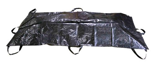 Primacare BB-3201 Body Bag Stretcher Combo with Side Handles - Outdoor Camping Hiking Sleeping Pouch Bag Polyethylene Cadaver Disaster (Black, 90 x 36 inches)