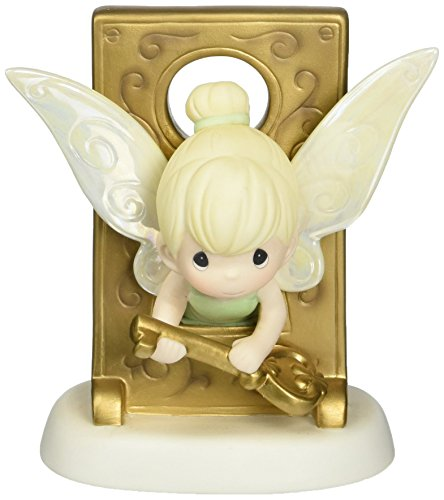 Precious Moments, Disney Tinker Bell in Key Hole Figurine, Porcelain Bisque Figurine, -