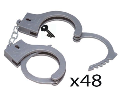 (WHOLESALE LOT OF 48) GRAY Handcuffs PLASTIC Toy Cuffs Police Costume 4 Dozen pairs