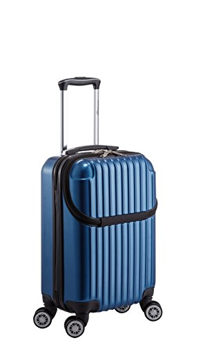 Euro Style Collection Luggage Travel Bag ABS Trolley Spinner Suitcase with Front Opening, Blue Abs Trolley