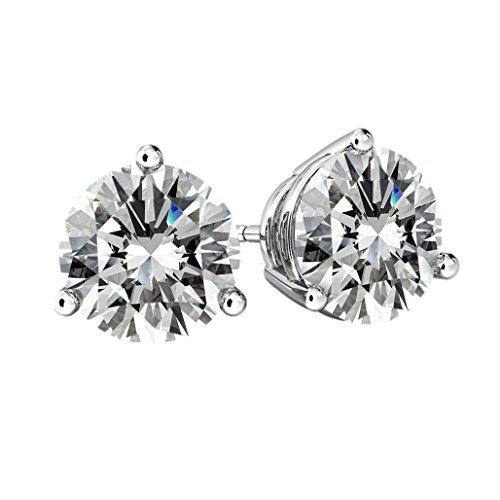 CZ Stud Earrings Surgical Stainless Steel post -8.0mm-4.0cttw - Rhodium Plated ()
