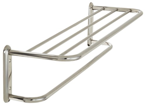 Taymor Hotel 24-Inch Upgraded Stainless Steel Towel Shelf with Single bar by Taymor Industries