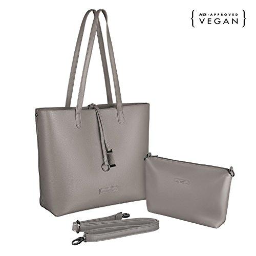 tragwert. Borsa da donna Shopping Bag LARA - Borsa tote a spalla Shopper Borsetta Pochette taupe