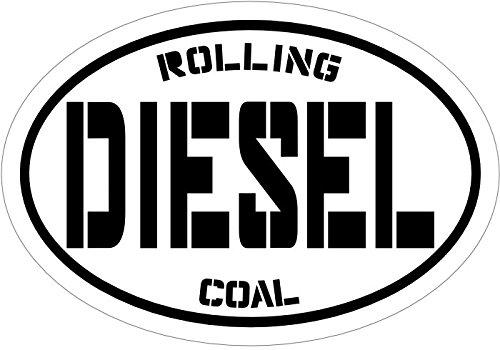Truck Bumper Sticker Perfect Diesel Truck Owner GIF WickedGoodz White Vinyl Oval Rolling Coal Diesel Decal