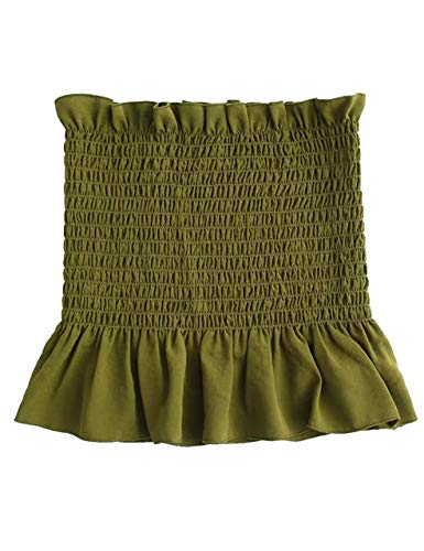 (KAMISSY Women's Frill Smoked Crop Tank Top Bandeau Tube Top Vest (Medium, Army Green))