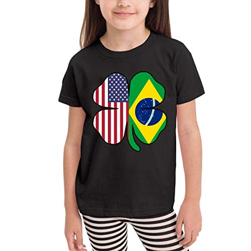 Vy91Lk-8 Short-Sleeve American Brazil Flag Shamrock Shirts for Kids, Cute Sweatshirt, 2-6T Black