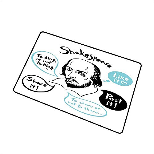 RelaxBear Funny Inlet Outdoor Door mat Shakespeare Portrait with Speech Bubbles and Social Media Citation Illustration Catch dust Snow and mud W19.7 x L31.5 Inch Blue Black White ()