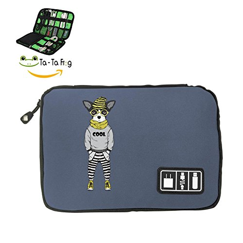 Frankenweenie Pet Costume (Ta-Ta Frog Electronic Accessories Travel Bag Dog USB Flash Drive Case Bag Wallet , SD Memory Cards Cable Organizer (Black, Blue and Grey))