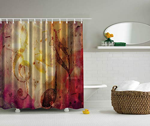 Ambesonne Music Shower Curtain, Composition with Musical Themes Notes and Clef Design Colorful Grunge Illustration, Cloth Fabric Bathroom Decor Set with Hooks, 70