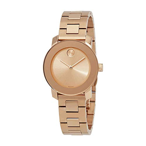 Movado Women's Swiss-Quartz Watch with Gold-Plated-Stainless-Steel Strap, Rose, 15 (Model: 3600435
