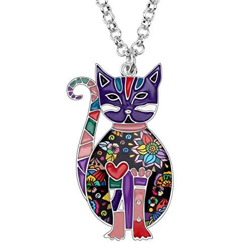 (Bonsny Enamel Alloy Floral Kitten Cat Necklace Chain Pendant Fashion Jewelry for Women Girl Charm Gift (Purple))
