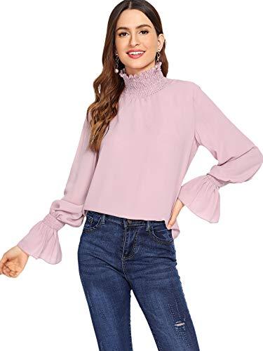 Collar Shirt Stand Ruffle (MAKEMECHIC Women's Solid Long Sleeve Ruffle Stand Collar Chiffon Blouse Shirt Tops Pink XS)